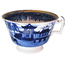 "John Rose Coalport Breakfast Cup, Dark Blue ""Curly Pagodas"", Early 19C Chinoiserie"