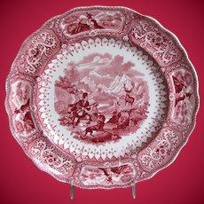 "Antique Adams ""Caledonia"" Plate, Scottish Highlands, Pink Transferware, Early 19C"