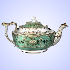 Antique Minton Teapot, Rococco Revival Bone China, Green & White, c 1830, A/F