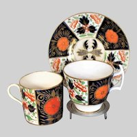 "Antique Coalport Porcelain Trio: Cup, Coffee Can & Saucer,  ""Crab Claw"" Imari Pattern, Early 19 C"