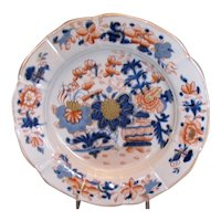 "Antique Mason's Ironstone Plate, ""Japan Basket"" Pattern, Early 19 C Impressed Mark"