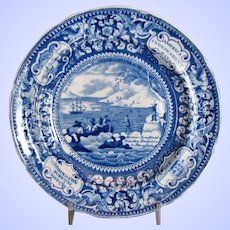 Historical Staffordshire Plate, Landing of the Fathers at Plymouth, Enoch Wood