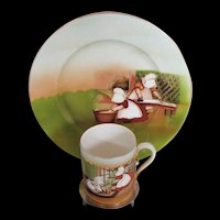 Royal Bayreuth Sunbonnet Babies, Child's Plate and Mug,  Vintage