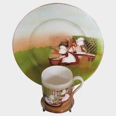 Royal Bayreuth Plate and Mug, Sunbonnet Babies, Vintage