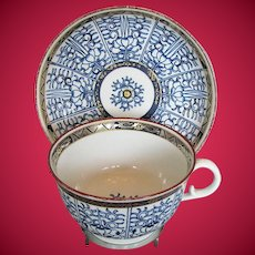 Antique Barr Worcester Breakfast Cup & Saucer, Blue & White, Late 18th C-Early 19th C
