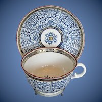"Antique Worcester Large Breakfast Cup & Saucer, Blue & White ""Royal Lily"", Late 18th C-Early 19th C"