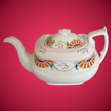Antique English Teapot, Porcelain, Obscure Staffordshire Maker, Early 19th C