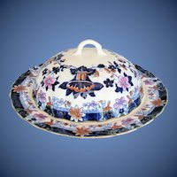 Antique English Porcelain Muffin Dish w/Cover,  Imari Colors, Early 19th C Hilditch