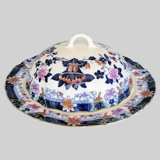 Antique Hilditch Muffin Dish & Cover,  Imari Colors, Early 19th C