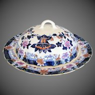 Antique English Muffin Dish w/Cover, Chinoiserie in Imari Colors, Early 19th C