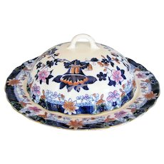 Antique English Porcelain Muffin Dish & Cover,  Imari Colors, Early 19th C Hilditch