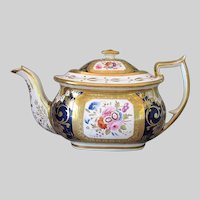 Antique Hicks & Meigh Teapot, Early 19th C English Porcelain, A/F