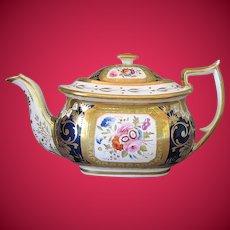 Antique English Teapot, Rare Hicks & Meigh Porcelain, Early 19th C, A/F