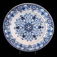 "Antique Wedgwood Soup Plate/Bowl, Blue & White Aesthetic Movement ""Rouen"""