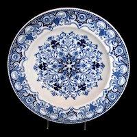 "Antique Wedgwood ""Rouen"" Pattern Soup Plate/Bowl, Blue & White Aesthetic Movement"