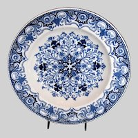 "Antique Wedgwood ""Rouen"" Pattern Soup Plate/Bowl, Blue & White Aesthetic Movement"