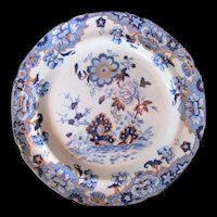 Antique Spode Plate, Blue & White Chinoiserie with Gilding, Early 19th C