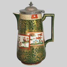 "Antique Ashworth Ironstone Coffee Pot, Mason's ""Double Landscape"" Pattern, 19th C"