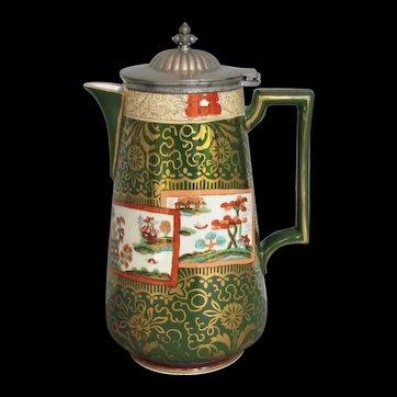 "Antique Ashworth Ironstone Coffee Pot, Mason's ""Double Landscape"" Pattern, 19th C"