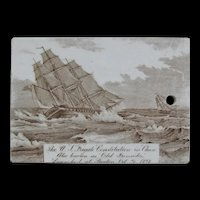 "Antique Wedgwood Calendar Tile, 1904,  U.S. Frigate Constitution ""Old Ironsides"""