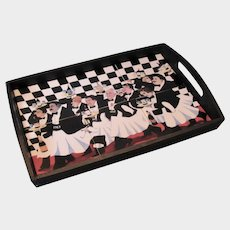 "Guy Buffet ""The Race of the Great Vintages"", Ceramic Tile & Wood Serving Tray:"