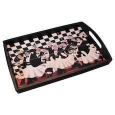 """Guy Buffet """"The Race of the Great Vintages"""", Ceramic Tile & Wood Serving Tray:"""
