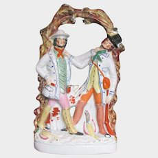 Antique Staffordshire Portrait Figure Group: The Murder of Thomas Smith by William Collier, 19th C