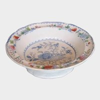 "Miles Mason's Ironstone Large Footed Bowl/Comport, ""India Grasshopper"", Antique Early 19th C"