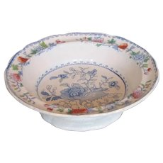 """Miles Mason's Ironstone Large Footed Bowl/Comport, """"India Grasshopper"""", Antique Early 19th C"""