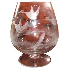 Antique Engraved Clear Bohemian Glass Brandy, Stag and Birds, Extra Large