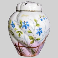 Antique Porcelain Potpourri Vase,  Hand Painted,  19th C