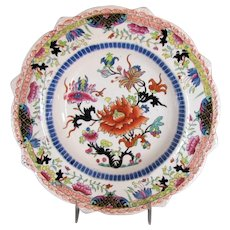 "Early Mason's Ironstone Large Dessert Dish, ""Ragged Rose"", Antique, Impressed Mark"