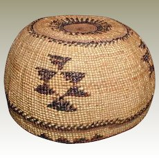 Hupa Indian Basket Hat, California, Vintage Native American