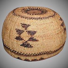 Hupa Indian Basket Hat, California, Vintage Native American