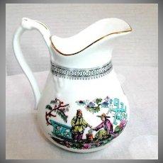 "English Chinoiserie Cream Jug, Large,  Antique 19th C Sampson Bridgwood ""Pekin"