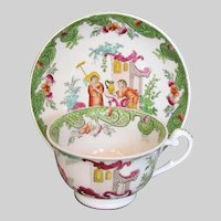 Antique Ridgway Large Breakfast Cup & Saucer, Chinoiserie, Early 19th C