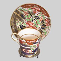 "Chamberlain Worcester Coffee Can, ""Thumb and Finger"" with Free Saucer, c 1805"