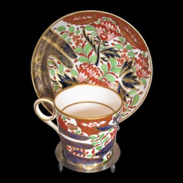"""Chamberlain Worcester Coffee Can, """"Thumb and Finger"""" with Free Saucer, c 1805"""