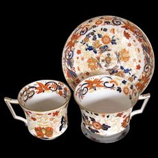 Antique Wedgwood First Period Bone China Trio (2 Cups, 1 Saucer)