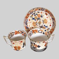 Antique Wedgwood Imari First Period Bone China Trio (2 Cups, 1 Saucer)