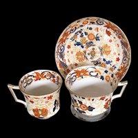 Antique Wedgwood Imari Trio (2 Cups, 1 Saucer), Bone China, c 1815