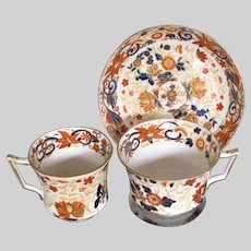 Antique Wedgwood Imari Trio (2 Cups, 1 Saucer), Bone China, c 1815