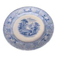 """Antique Blue & White Ironstone Plate, E. Challinor, """"Lozere"""", 19th C"""