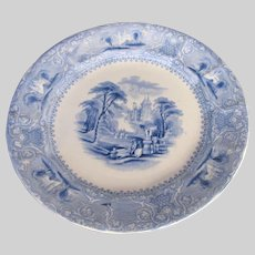 "Antique Blue & White Ironstone Plate, E. Challinor, ""Lozere"", 19th C"