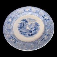 """Antique E. Challinor Blue & White Ironstone Plate, """"Lozere"""", 19th C"""