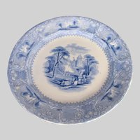 "Antique E. Challinor Blue & White Ironstone Plate, ""Lozere"", 19th C"