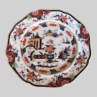 "Antique J. Ridgway Plate, Polychrome Stone China ""Penang"", 19th C"