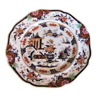 """Antique Ridgway Stone China Plate, Chinoiserie """"Penang"""", 19th C"""