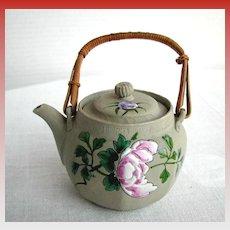 Banko Teapot, Pivoting Finial, Antique Japanese Pottery, Meiji Era