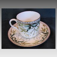 Coffee Cup & Saucer, Antique 19th C English Staffordshire, Bodley